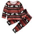 2pcs Xmas Christmas Toddler Baby Boys Girls Clothes Long Sleeve Reindeer T-shirt+Pants Homewear Nightwear Sleepwear Pajamas Set