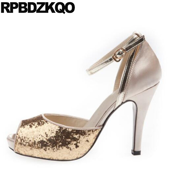 Peep Toe Ankle Strap Bling Silver Gold Wedding High Heels Pumps Big Size  Shoes Stiletto Glitter Women Sandals 2018 Summer Sequin c057a73c3606
