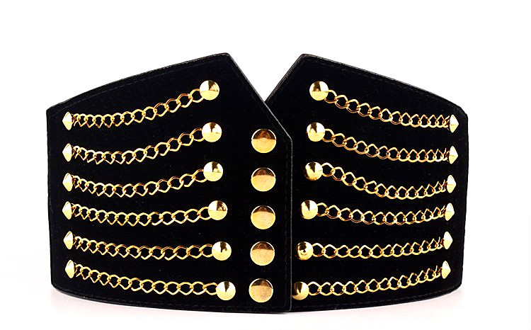 HTB1uiCpkrYI8KJjy0Faq6zAiVXaE - Super Wide Waist Belt For Women Fashion Metal Chain Rivet Body Shaping PU Waist Bands High Waist Elastic Dress Belts