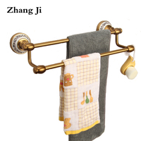 Zhang Ji Bathroom Fixture Antique European Style Copper Towel Bars Top Grade Brass Bolt Inserting Type 36cm Double Towel Racks