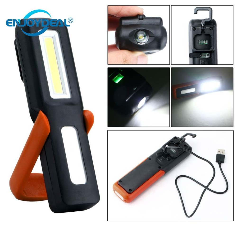 USB Rechargeable 3W COB Flashlight Torch Magnetic LED Work
