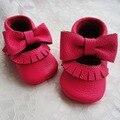 Hot pink Infantil Couro Genuíno Sapato Mary Jane Do Bebê Mocassins