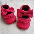 Hot pink Mary Jane Zapato Infantil Del Bebé Mocasines de Cuero Genuino