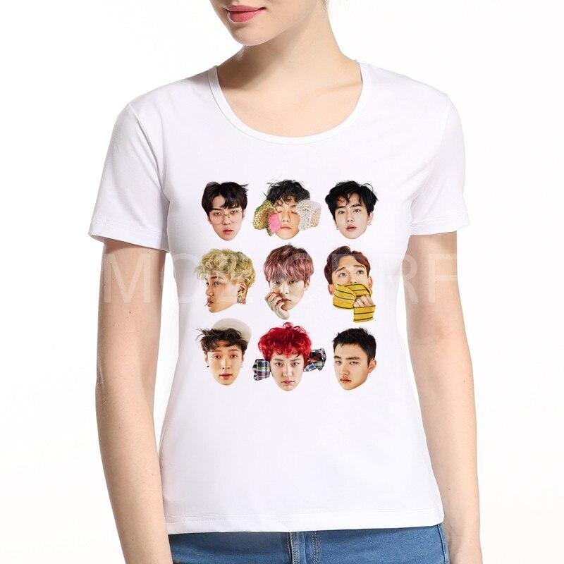 2020 Summer EXO Letter Print ženské tričko Ženy Harajuku O-neck s krátkým rukávem tričko Girl Tops White Tee Shirt Femme K2-3 #
