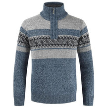 2019 autumn new men's fashion sweater jacket men's plus velvet thick casual sweater sweater men's slim half zip pullover sweater cable knit half zip up pullover sweater