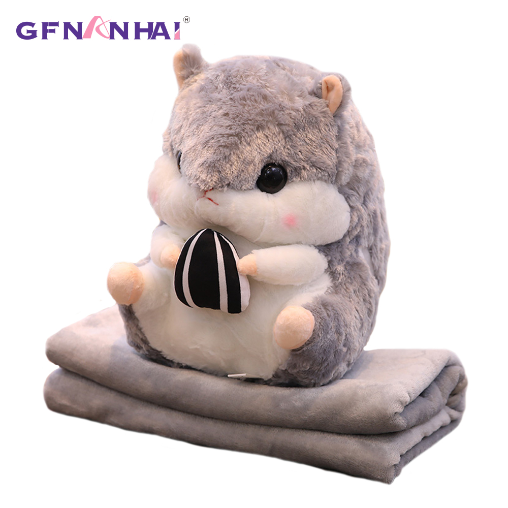 1pc 40CM Cute 3 in 1 Hamster Plush Toy kawaii Animal Hamster Pillow with Blanket Dolls Stuffed Toys Children Baby Birthday Gifts