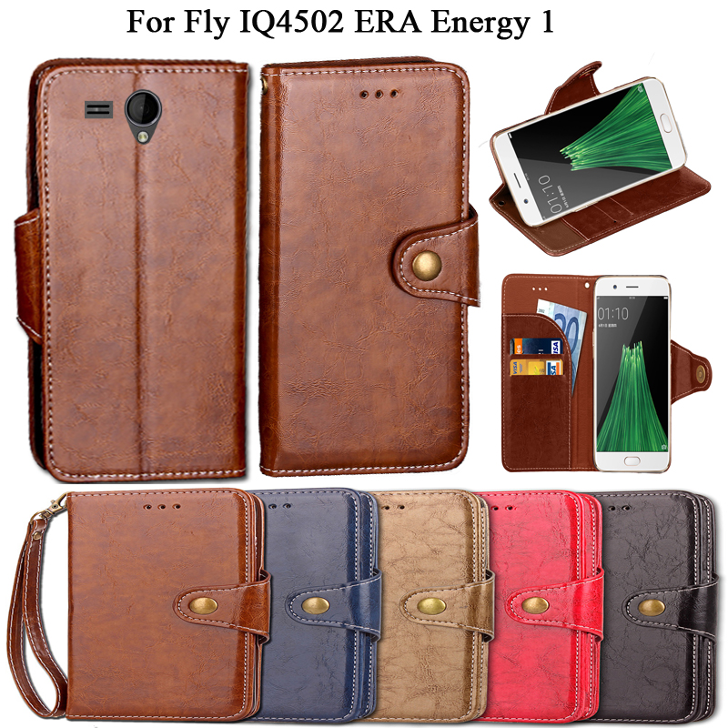 Luxury Flip Case For Fly IQ4502 ERA Energy 1 Case Cover Vintage PU Leather Wallet Kickstand Fundas Coque Cover With Lanyard