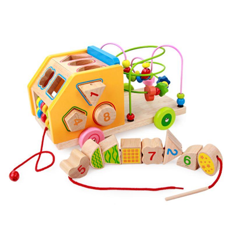 Blocs de construction géométriques en bois voiture correspondant à la reconnaissance de couleur labyrinthe montagnes russes jouets éducatifs