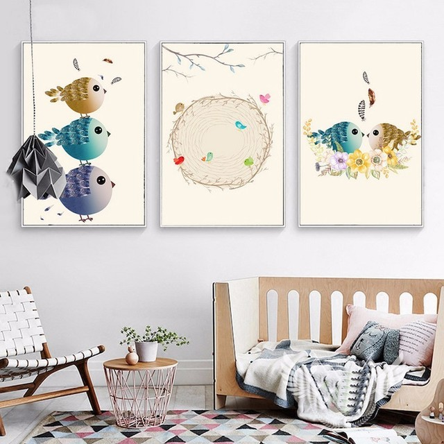 New Birds Nest Nordic Canvas Print Pictures Oil Painting Wall Pop ...