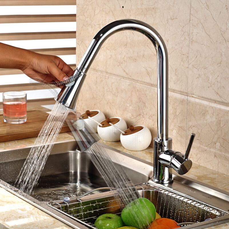 Solid Brass Kitchen Faucet Pull Out Swivel Spout Mixer Tap Deck Mount Sink Mixer Tap Pull Down Spray Hot and cold water solid brass kitchen faucet chrome polish brused nickle pull out swivel spout mixer tap deck mount sink mixer tap pull down spray