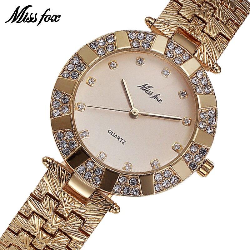 MISSFOX Miss Fox Brand Quartz Women Watches Luxury Waterproof Wrist Watches For Women Fashion Watch Women Gold Bracelet Clock