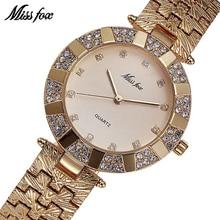 MISSFOX Miss Fox Merk Quartz Dameshorloges Luxe Waterdichte Horloges voor Dameshorloge Dames Gouden Armband Klok