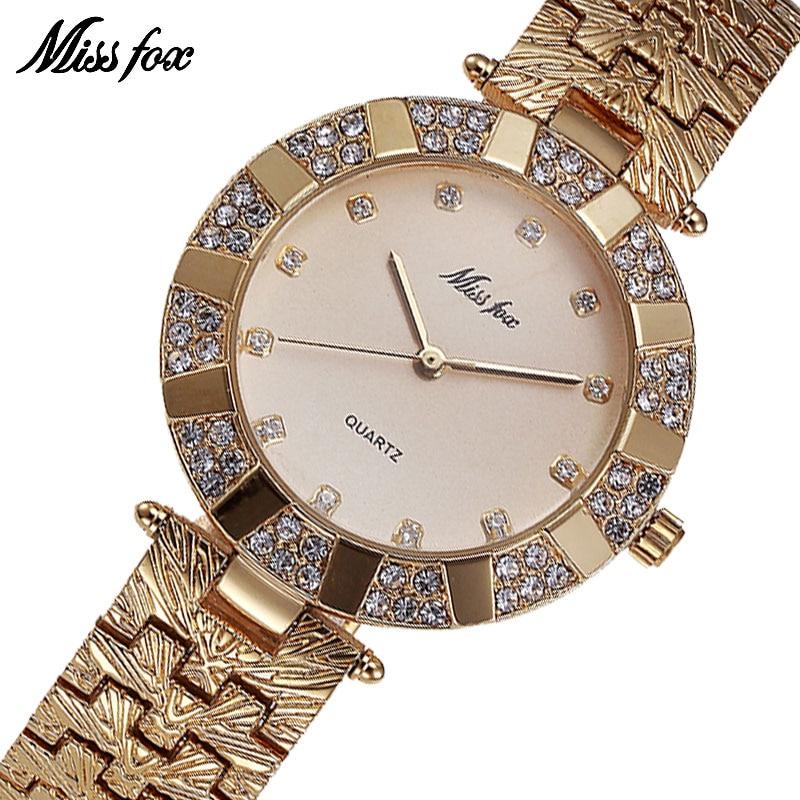 3d238d4c94ef Missfox Miss Fox marca de cuarzo mujeres relojes de lujo impermeable  relojes para las mujeres moda mujeres del reloj de oro reloj de pulsera