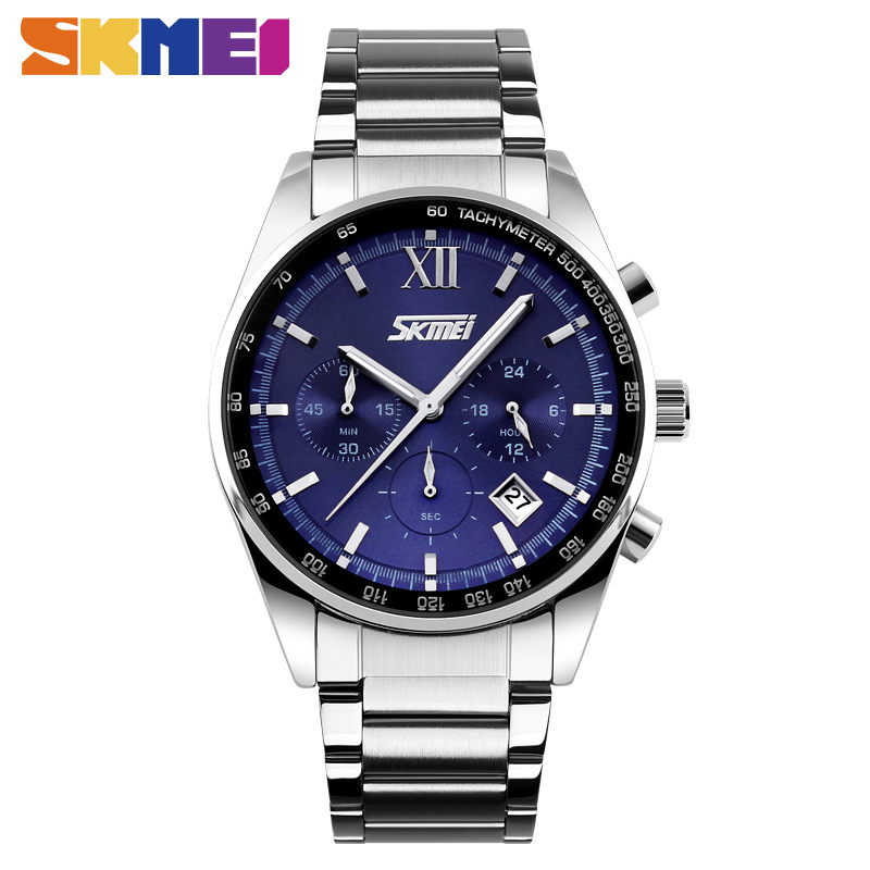 SKMEI 9096 Men Quartz Watch Fashion Causal Watches Stop Watch Stainless Steel Small Dial Waterproof Wristwatches