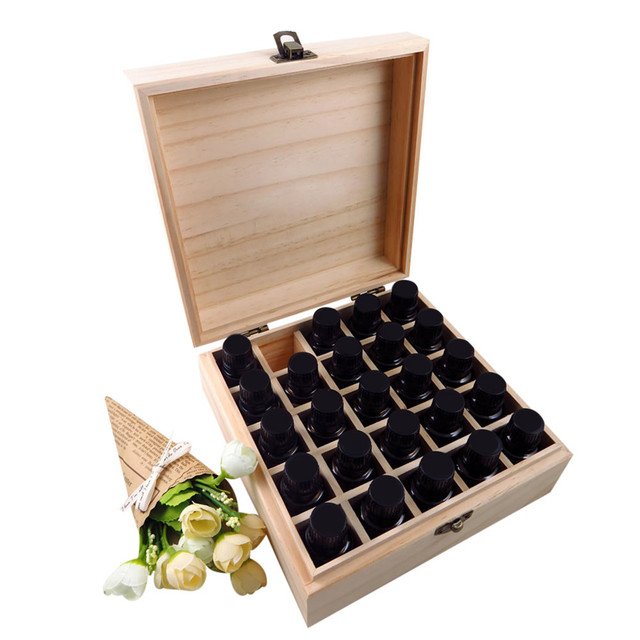 Wooden Storage Box 1pc Carry Organizer Essential Oil Bottles Aromatherapy Container Metal Lock Jewelry Treasure Case 3