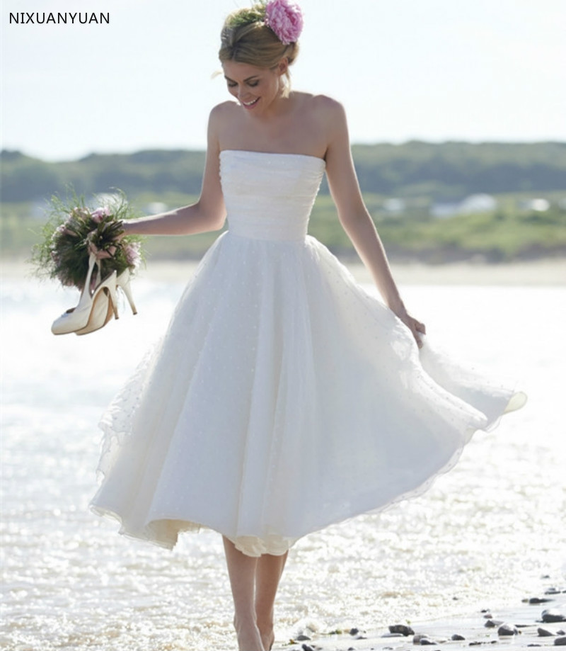 Vestido De Noiva 2019 Sexy Short Wedding Dress Strapless A Line Zipper Back Mid-Calf Organza Beach Wedding Gown