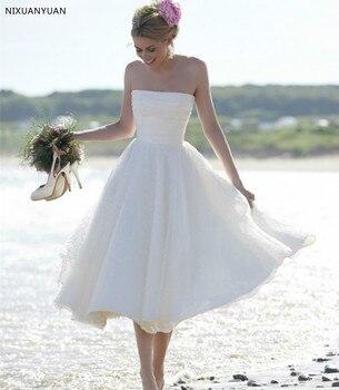 Vestido De Noiva 2020 Sexy Short Wedding Dress Strapless A Line Zipper Back Mid-Calf Organza Beach Wedding Gown