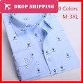 Dropshipping New 20 Colors Men's Fashion Printing Shirt Slim Fit Long Sleeve Shirts , Us Size Xs-l , G2875