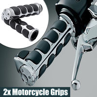 Universal 25mm 1\ Or 22mm 7\/8\ Motorcycle Handlebar Handle Bar End Hand Grips For  Honda Yamaha Cruiser Chopper