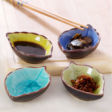 Useber Creative Kitchen Supplies Japanese Ceramic Seasoning Small Bowl Home Restaurant with Dish Leaves Fish Modeling
