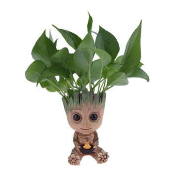 Cute Baby Groot Flower Pot with Small Hole to Drain the Inside Water Suitable for Home Decor