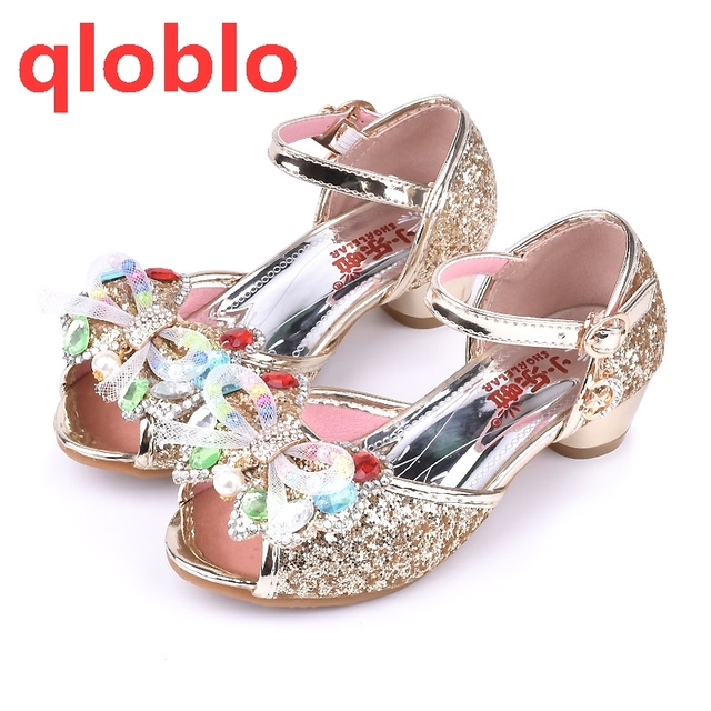 qloblo 2018 children summer baby sandals girl shoes toddler high heels  Bowtie beauty gold girls sandals Blue Pink Gold e26ce8e8c467