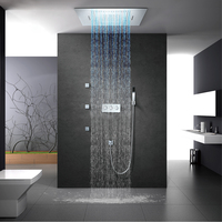 LED Showerhead Rainfall Waterfall Shower Head Bathroom Shower Faucet Hot Cold Mixer Embedded Ceiling Mounted Shower Set 60*80cm