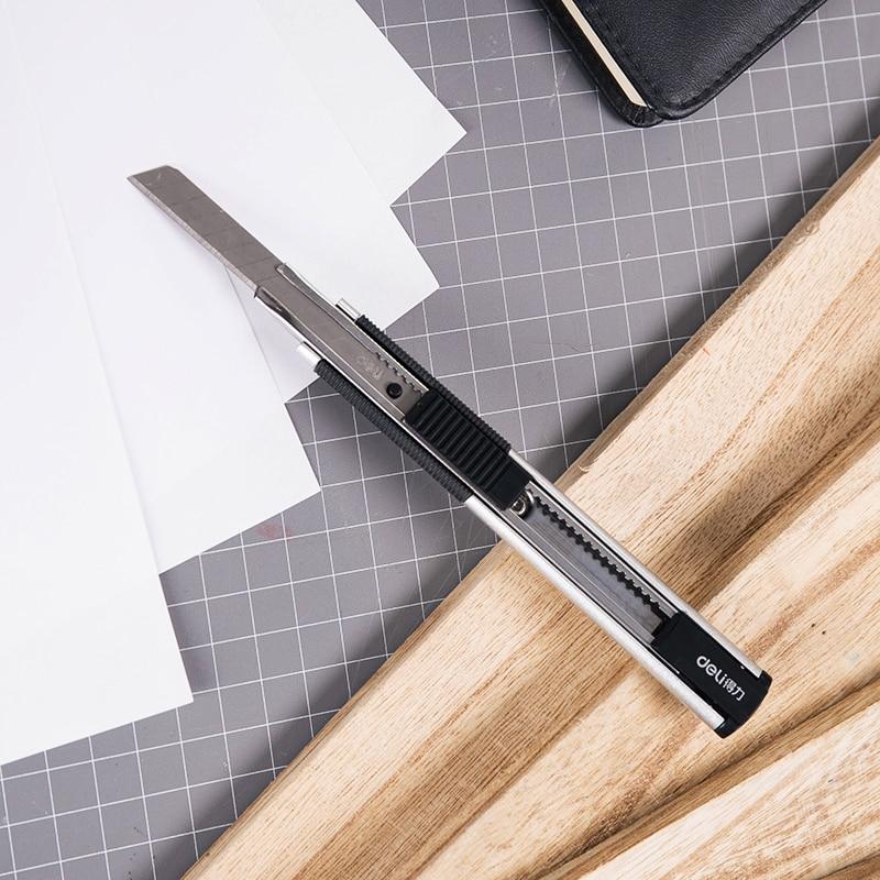 Deli Utility Knife Zinc Alloy Knife Shell Small Utility Knife Blade Comfortable Anti-slip Grip