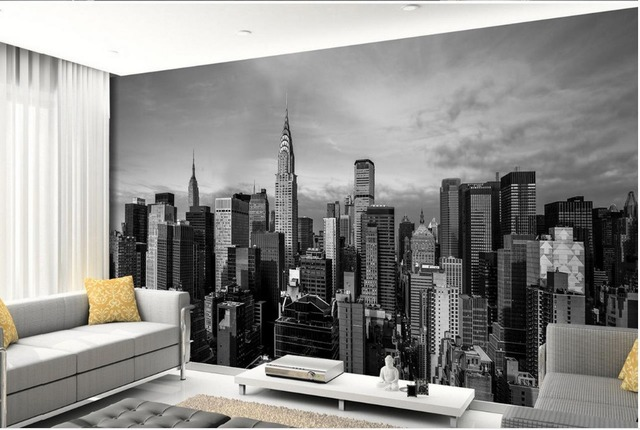 Wallpapers voor woonkamer zwart wit building custom 3d behang ...