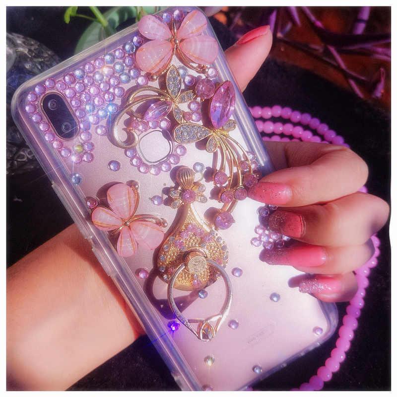 Палец кольцо чехол для телефона для huawei Коврики 20 20X9 10 Pro Lite P10 P20 P30 Pro Lite плюс бабочки диаманта Телефон держатель задняя крышка