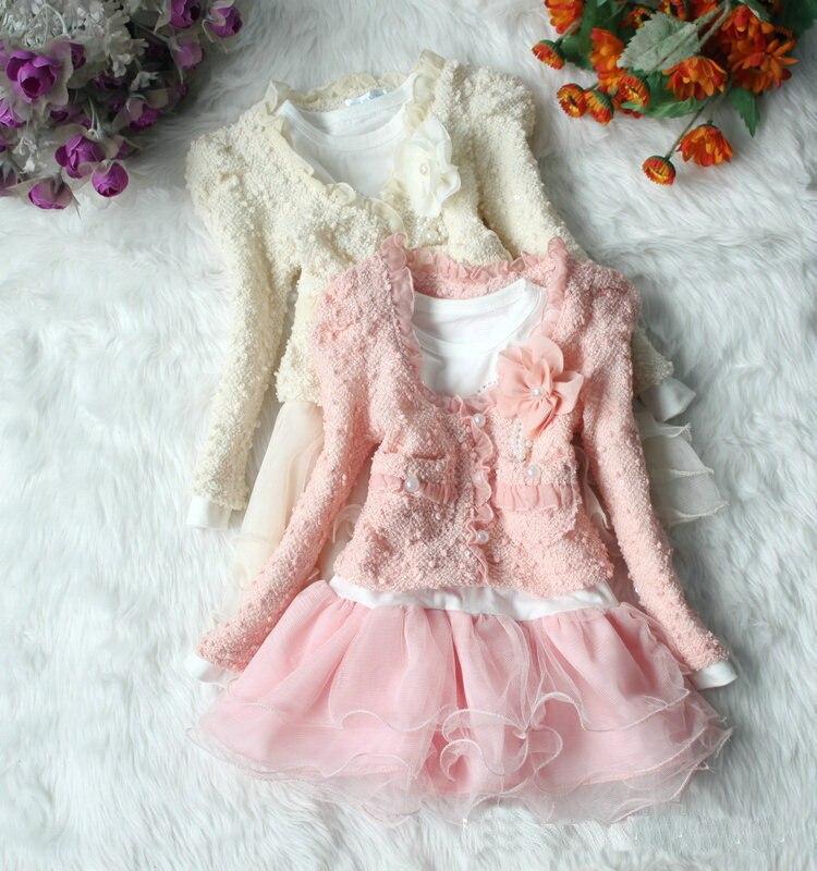 2015 Einzelhandel Frühling Herbst Mädchen Twinset Kleid + Mantel Jacke Mädchen Spitzenkleid Kinder Kleidung Set Baby Clothiong Kostenloser Versand