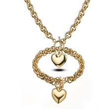 8mm Fashion Womens Girl Stainless Steel Gold Rolo O Link Chain Charms Heart Pendant Necklace And Bracelet Jewelry Sets Wholesale