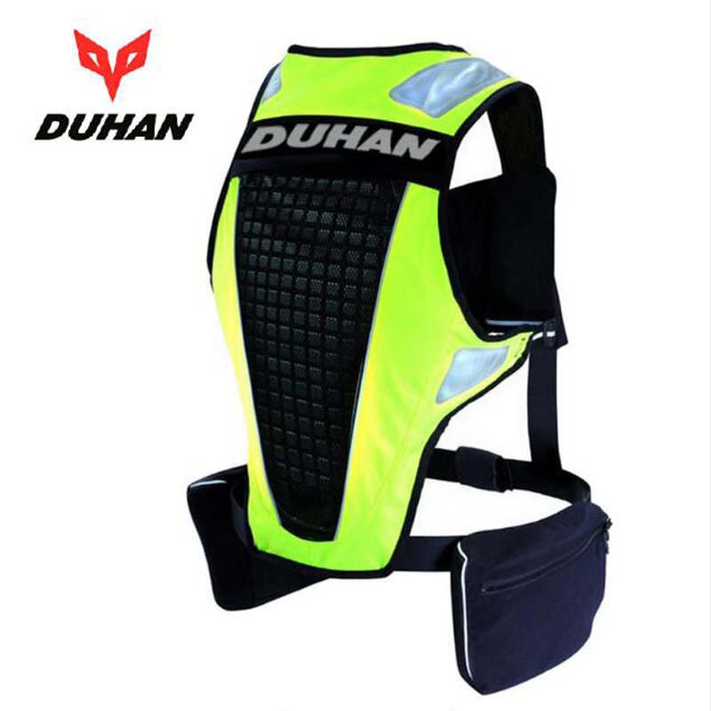 2018 New DUHAN motorcycle reflective vest Safety warning clothes Jacket Protective clothing back protection fluorescence green