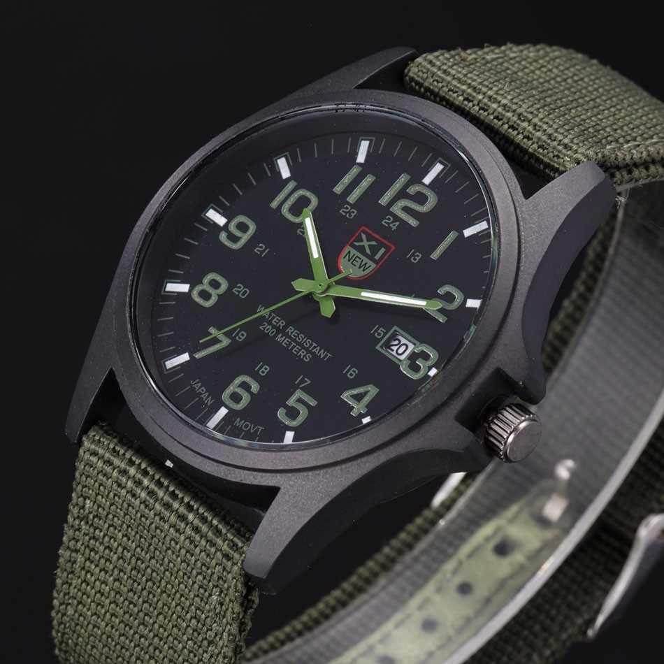 Luar Ruangan Pria Tanggal Stainless Steel Militer Olahraga Analog QUARTZ Army Wrist Jam Tangan Pria Watch Pergelangan Tangan Dekorasi Pesta Bisnis Wat