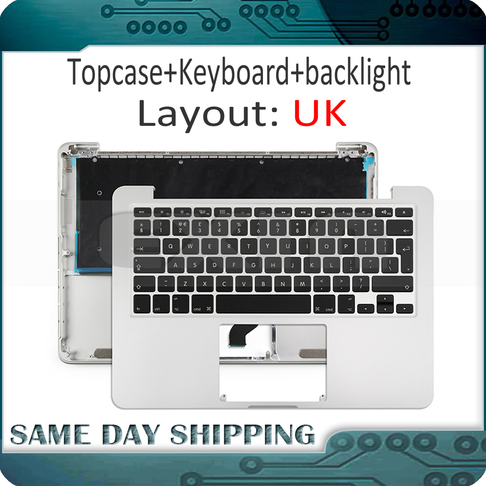 For Macbook Pro Retina 13 A1502 UK English Keyboard with Top Case Topcase+Backlight Backlit Early 2015 MF839 MF841 EMC2835 new laptop battery for macbook pro 13 a1582 a1502 mf839 mf841 mf843 retina early 2015