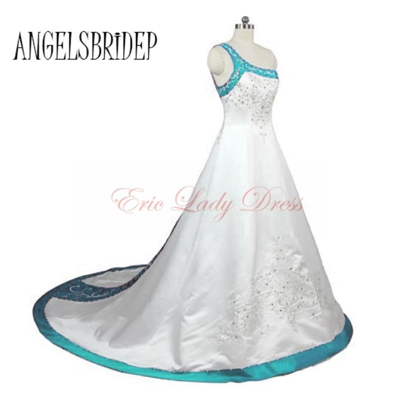 US $134.85 13% OFF|2015 White&Blue&Burgundy&Purple Plus Size Wedding  Dresses Long Satin Embroidery Vestido De Noiva Plus Size Wedding Bridal  Gowns-in ...