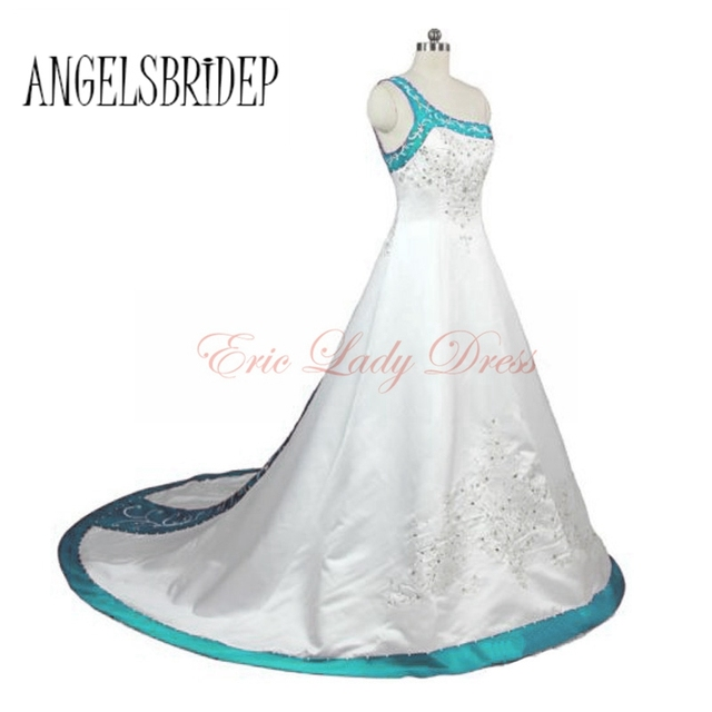 2015 White&Blue&Burgundy&Purple Plus Size Wedding Dresses Long Satin ...