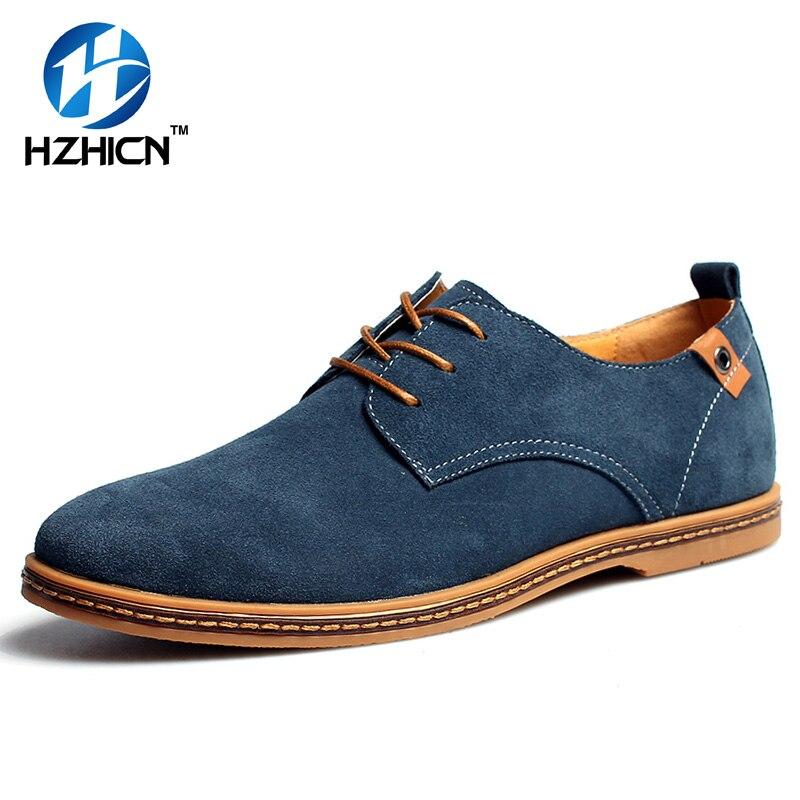 HZHICN Tamaño Grande 48 de Los Hombres Zapatos Casuales de Cuero Partido de la V
