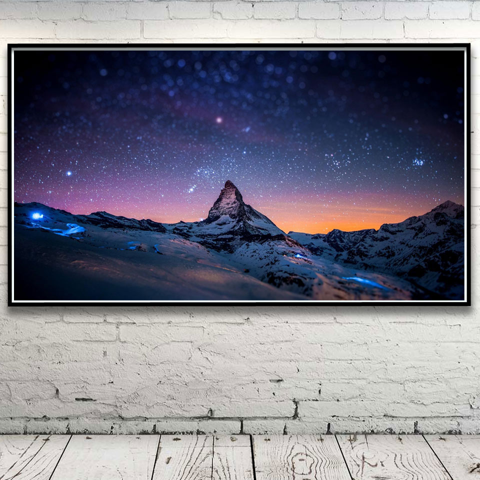 Stars Night Space Winter Snow landscape Art Silk Poster Home Decor Pictures 11x20 16x29 20x36 Inches Unframed Free Shipping wall decor picture decorative pictures poster print - title=