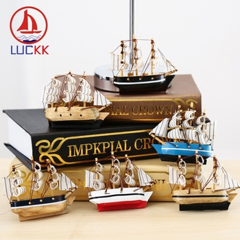 LUCKK 10CM Mediterranean Creative sailboat Firdge Magnets Wooden Model Ships sea crafts Home decor refrigerators Kitchen Sticker 1