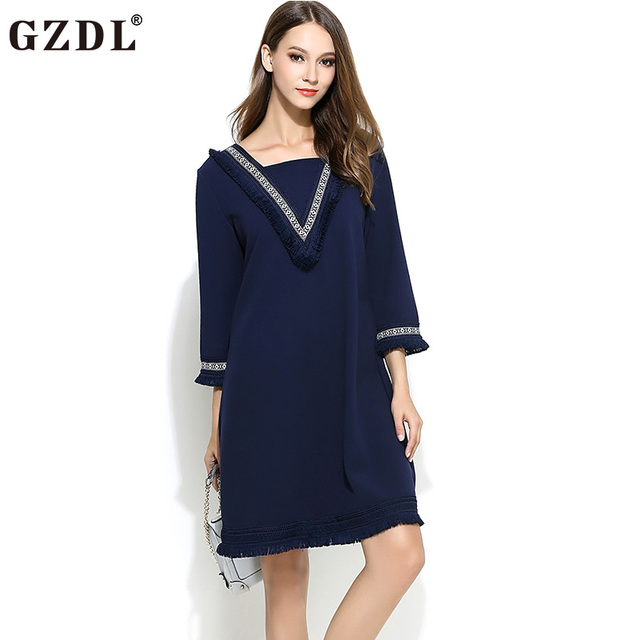 Gzdl mode frauen quaste dress langarm quadrat hülle blau kurze ...