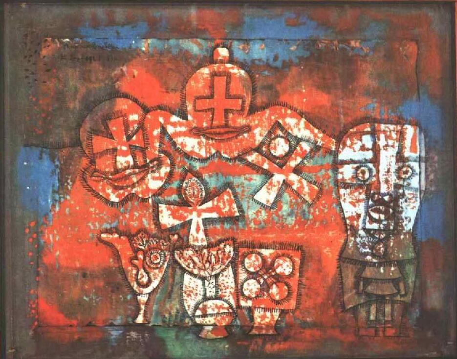 Hoge kwaliteit olieverf Canvas Reproducties Chinese porselein (1940) door Paul Klee Schilderen hand geschilderd