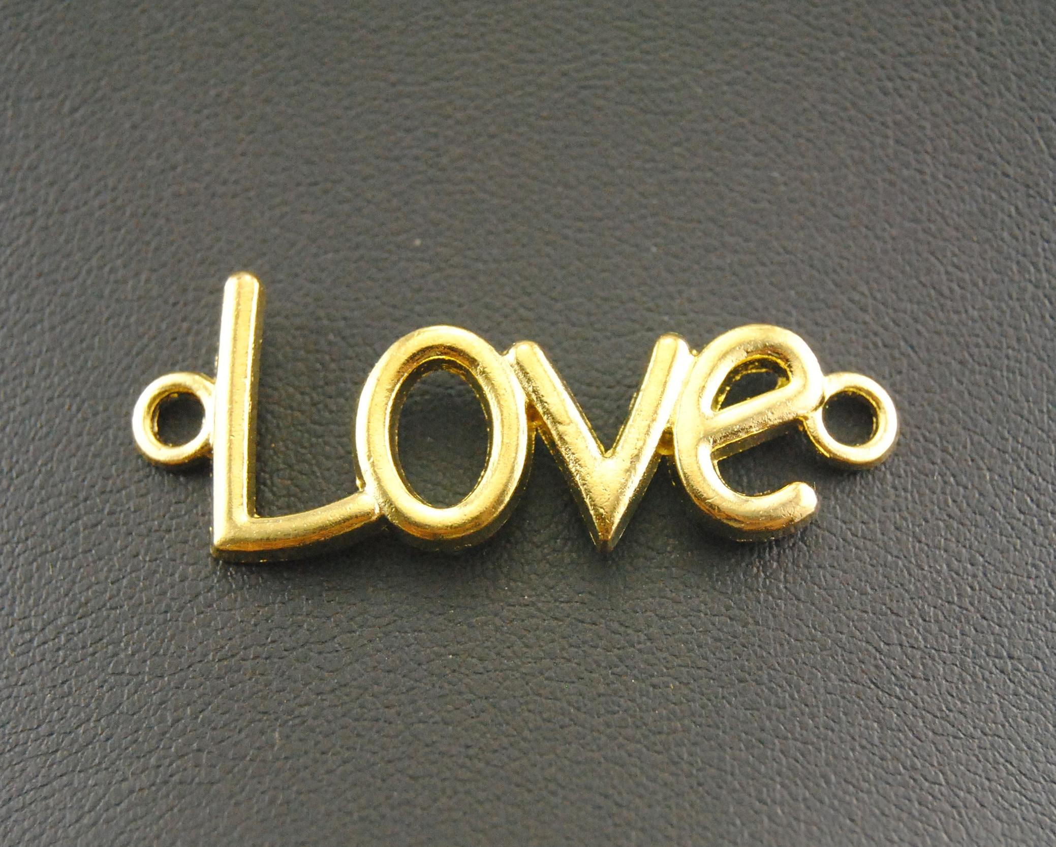 20 шт./лот 4 цвета sideway Любовь Шарм Разъем ювелирные аксессуары бусины - Цвет: gold