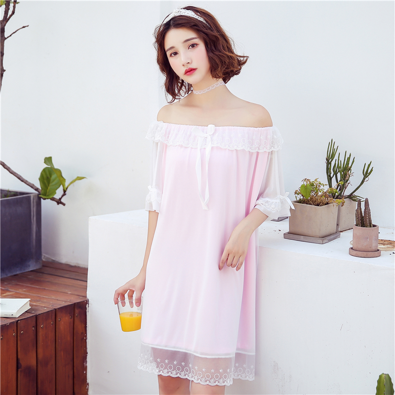 Knitted cotton Nightgown 2019 Sleep Clothing short Sleeved Sleepshirts Women Nightwear Female Nighties summer Princess nightgown