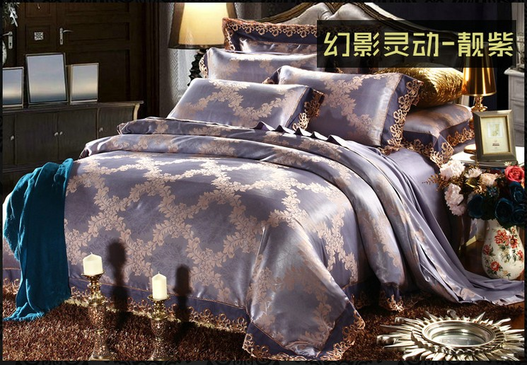 luxury purple lace satin jacquard bedding sets king queen size duvet cover quilt bed in a