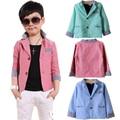Autumn Boys blazers jackets Plaid Casual blazer jacket for Kids 110-150cm Children Brand tuxedo Baby chaqueta Pink Blue Green