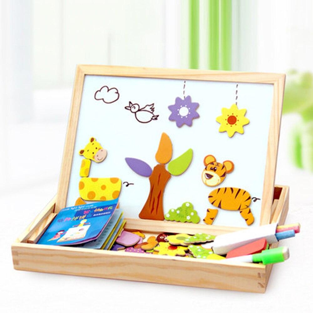 100 + Pcs Holz Magnetischen Puzzle Spielzeug Kinder 3D Puzzle Figur/Tiere/Fahrzeug/Circus Zeichnung Bord 5 stile Lernen Holz Spielzeug