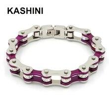 Punk Purple Biker Link Bracelet Women Stainless Steel 316L Motorcycle Chain Bracelets Jewelry Gift For Woman Wholesale