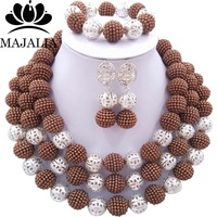 2017 Fashion Brown african beads necklace set nigerian wedding african beads jewelry set Free shipping P 4472
