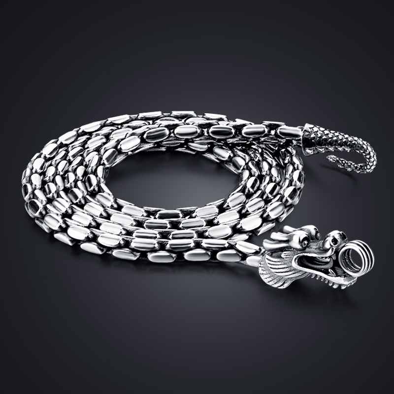 Fashion 100% 925 Sterling Silver Necklace Men Vintage Thai Silver 5 Mm 24 Inches Dragon Necklace Male Punk Hip-hop Jewellery